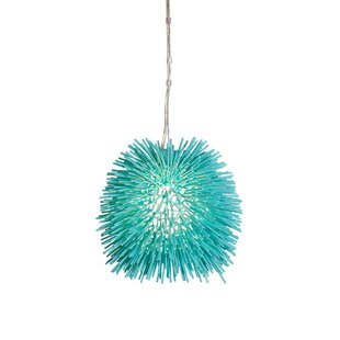Urchin Mini Pendant in Aqua Velvet by Varaluz