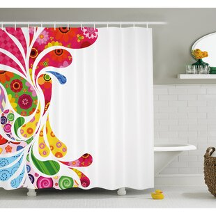 Paisley Leaves with Floral Elements Inside Carnival Inspired Retro Design Shower Curtain Set By Ambesonne
