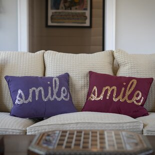 Smile Sequin Script Lumbar Pillow by Thro by Marlo Lorenz