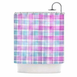 Watercolour Checked Tartan Sin by Michelle Drew Plaid Single Shower Curtain