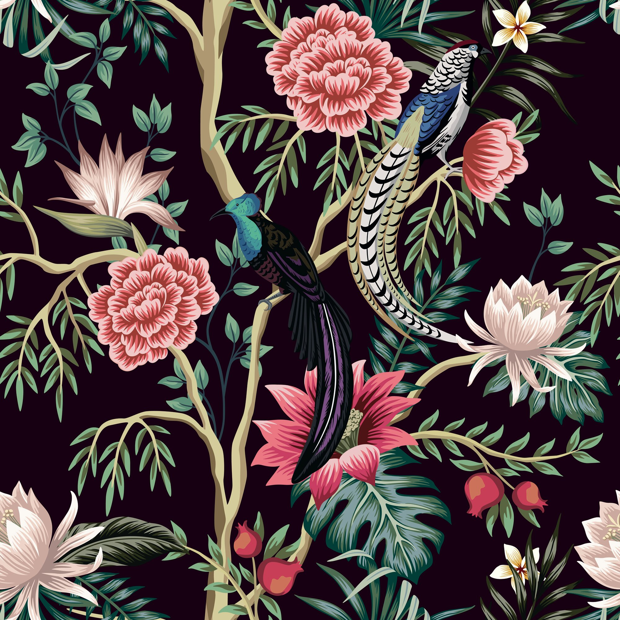 World Menagerie Garden Tree 10 L X 24 W Peel And Stick Wallpaper Roll Wayfair