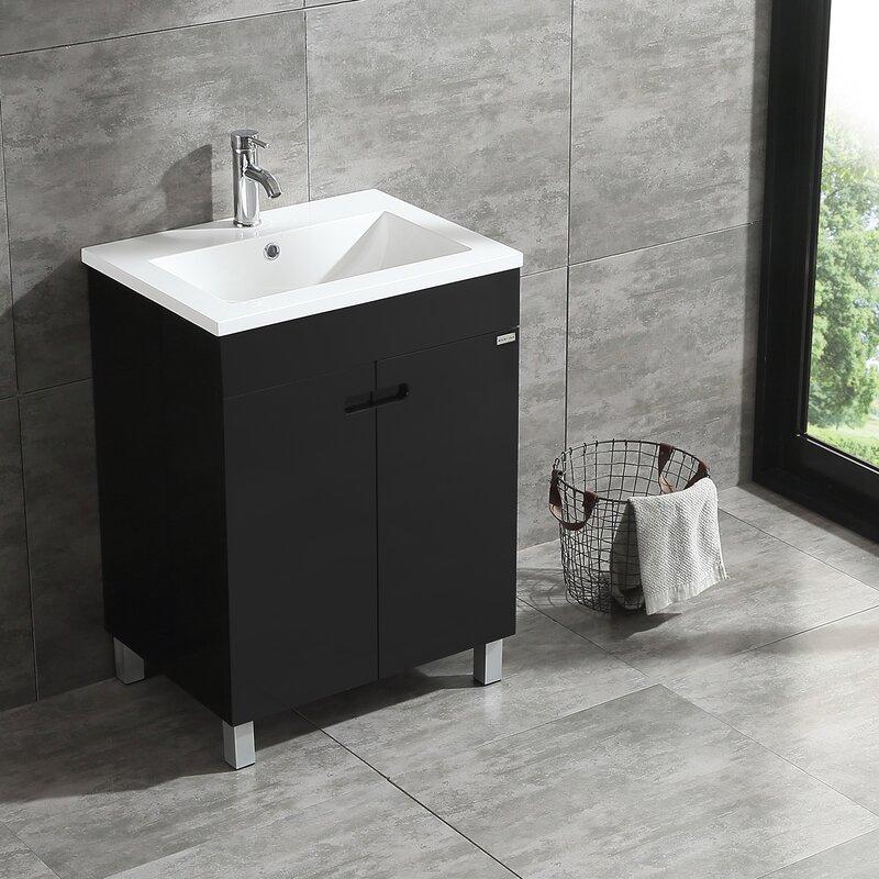 Wonline 24 Black Single Wood Bathroom Vanity Cabinet Reviews Wayfair