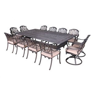 Fleur De Lis Living Gunter 13 Piece Dining Set with Sunbrella Cushions
