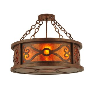 Meyda Tiffany Greenbriar Oak 4-Light Drum Chandelier