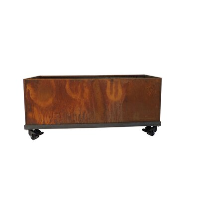 "17 Stories Elisabetta Corten Steel Planter Box Size: 16"" H X 46"" W X 16"" D, Casters: Yes"