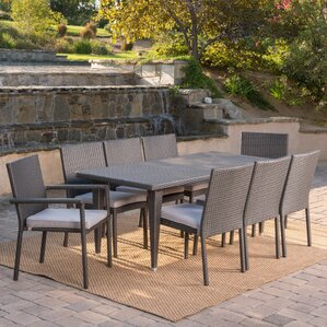 Schnell Wicker 9 Piece Dining Set With Cushions