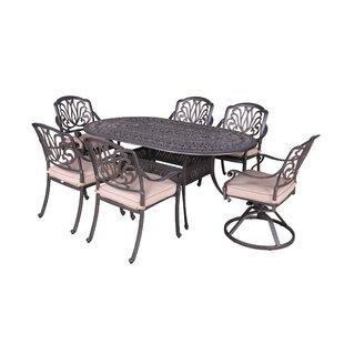 Fleur De Lis Living Gunter 7 Piece Dining Set with Sunbrella Cushions