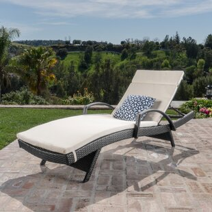 Look for Gilleasbuig Outdoor Wicker Armed Chaise Lounge with Cushion Buy & Reviews