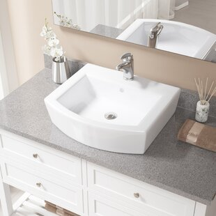 MR Direct Vitreous China Specialty Vessel Bathroom Sink with Faucet and Overflow
