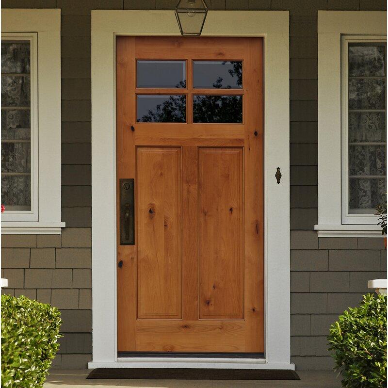 Wayfair Creative Entryways Shaker Craftsman 4 Lite Beveled Ready To Install Wood Prehung Front Entry Door