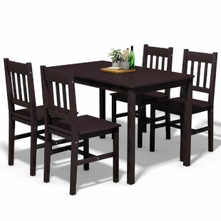 Sundberg 5 Piece Solid Wood Dining Set Winston Porter