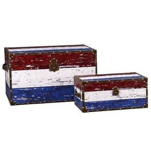 Household Essentials 2 Piece Decorative Storage Trunk Set