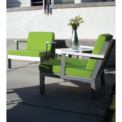 Etra Patio Chair with Cushions Modern Outdoor Frame: Stainless Steel, Surface: Brazilian Walnut, Fabric: Lime