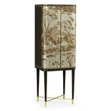 Fusion Antique Etched Brass Bar Cabinet by Jonathan Charles Fine Furniture