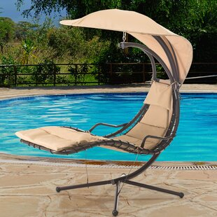 Sunjoy Corona Polyester Hanging Chaise Lounger with Stand