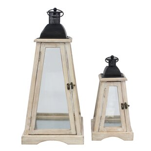 Gracie Oaks Ironwood Worn 2 Piece Wood Lantern Set