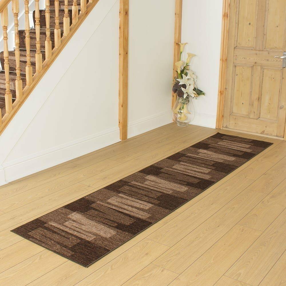Angelique Looped/Hooked Dark Brown Hallway Runner Rug