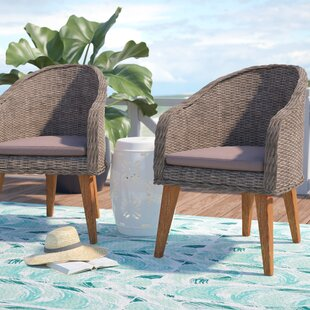 Beachcrest Home Elsmere Teak Patio Dining Chair with Cushion (Set of 2)