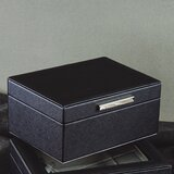 Faux Leather Jewellery Box With Metal Handle