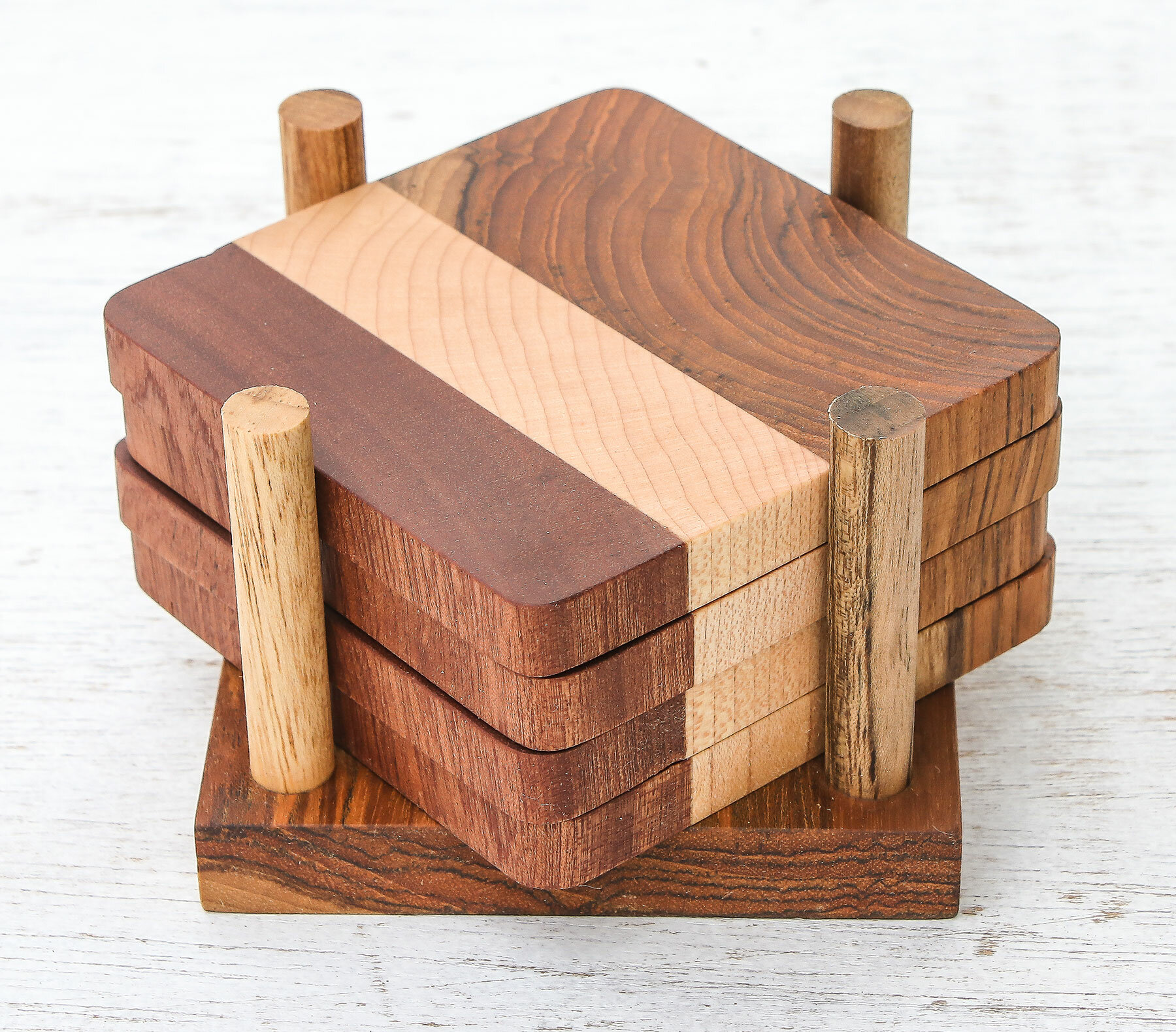 Union Rustic Cool Nature Wood Coaster Set With Holder Wayfair