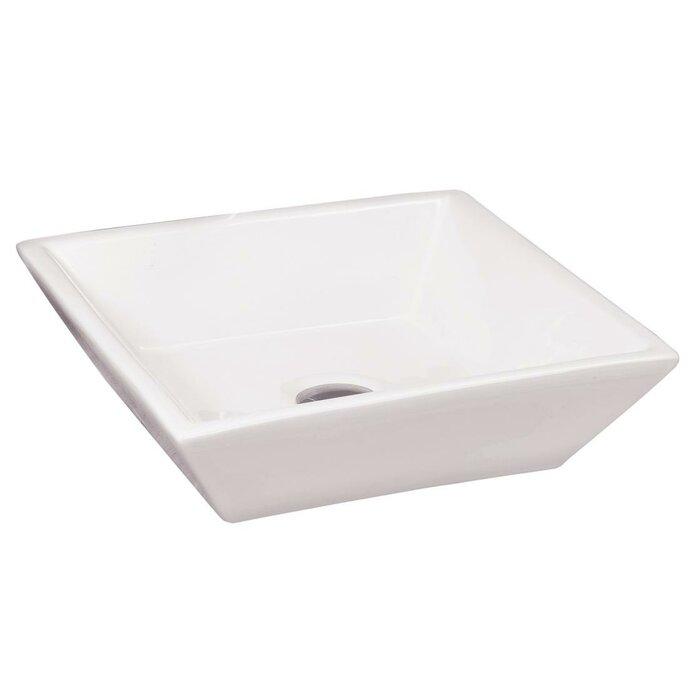 Above Counter Porcelain Square Vessel Bathroom Sink