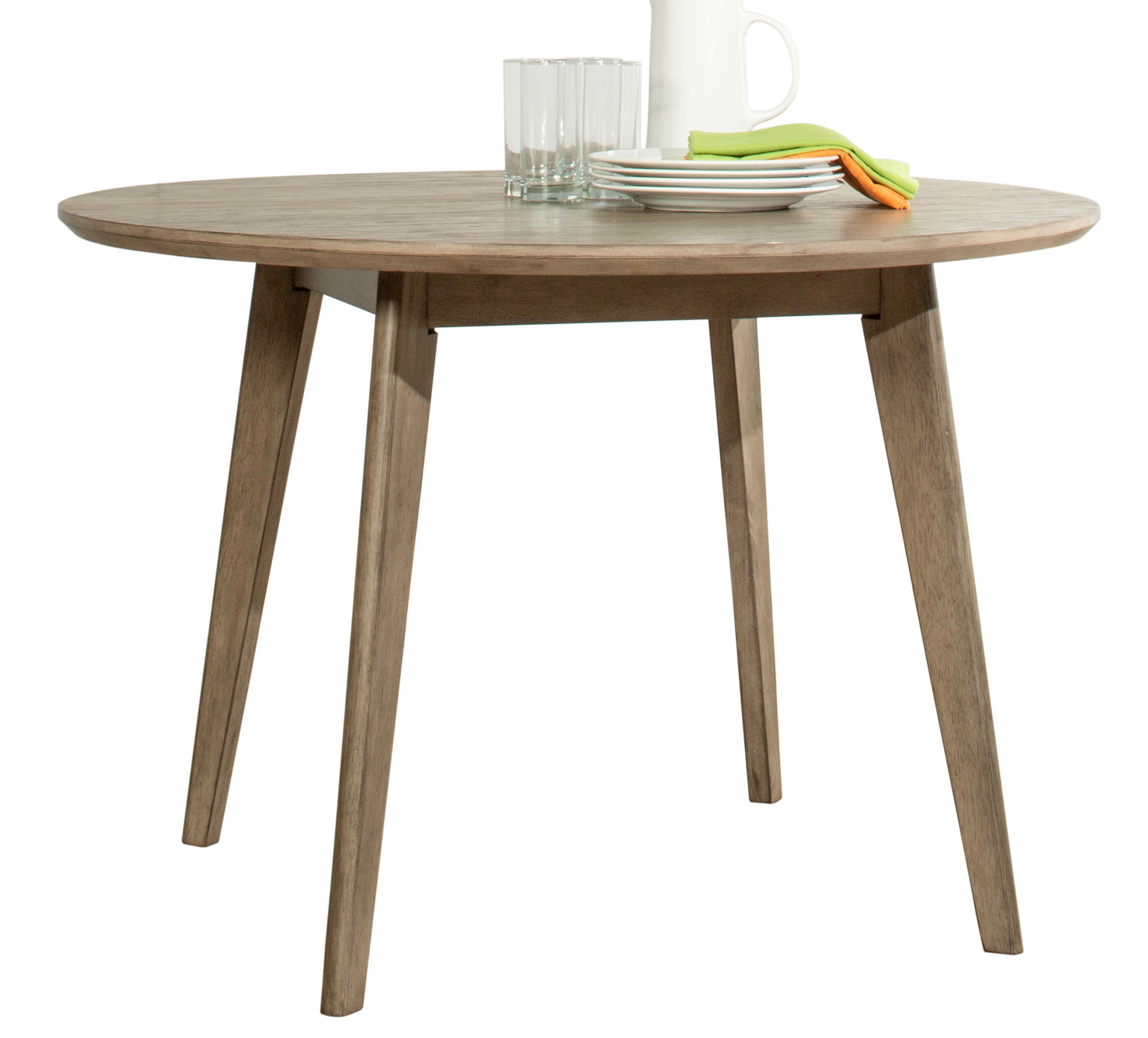 Gracie Oaks Modern Round Wood Dining Table Weathered Grey Reviews Wayfair Ca