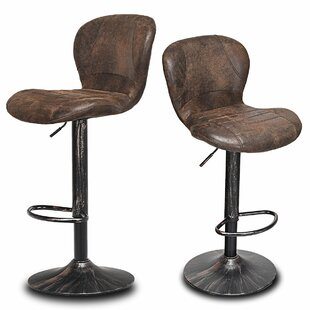 Pascale Adjustable Height Swivel Bar Stool (Set of 2) by Williston Forge