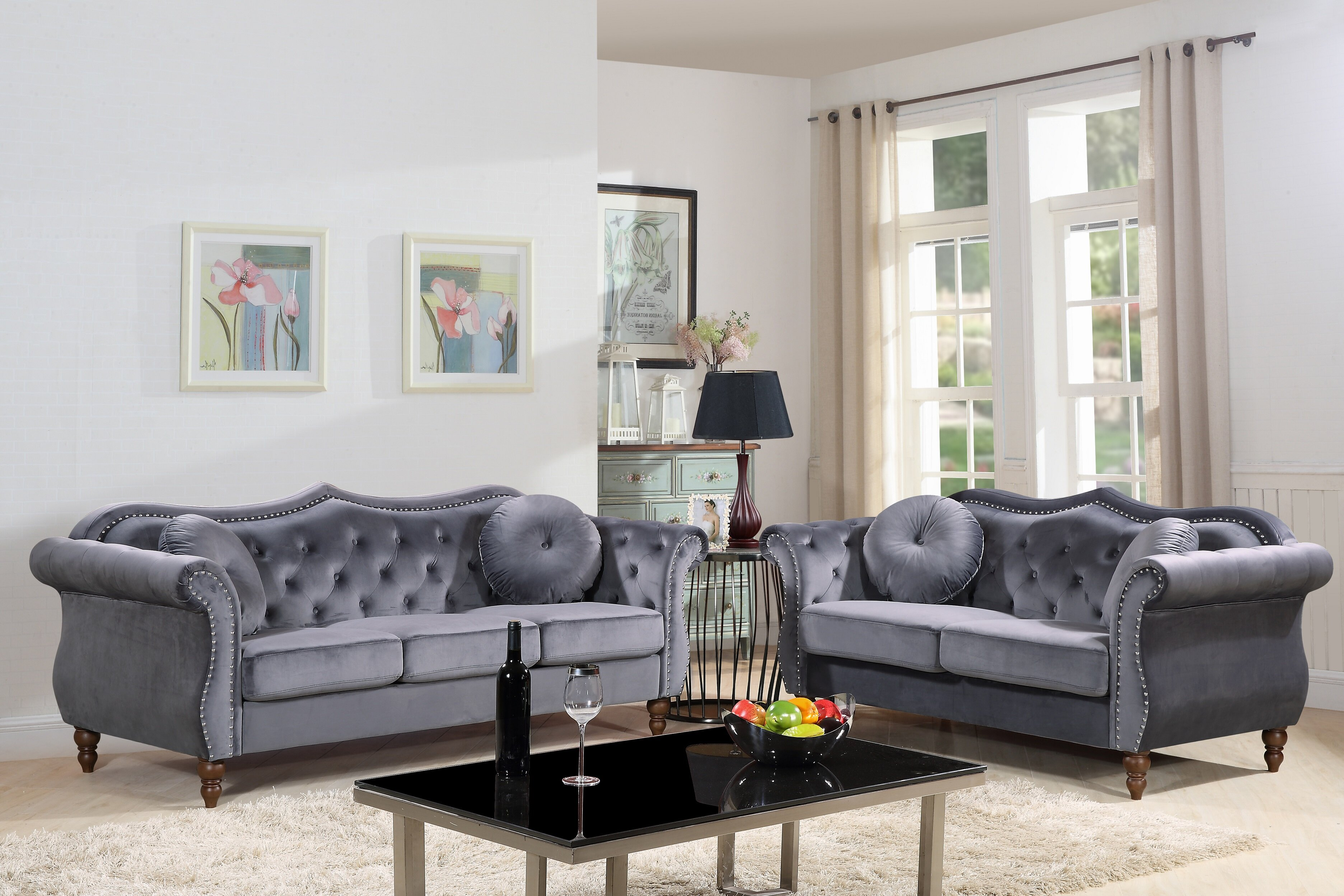 House of Hampton Carbon Classic Nailhead Chesterfield 2 Piece Living ...