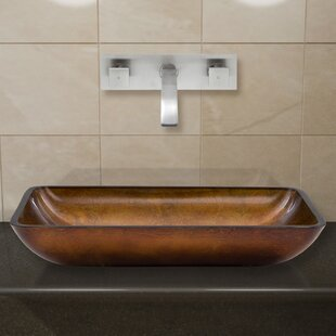 Reviews Russet Glass Rectangular Vessel Bathroom Sink with Faucet By VIGO