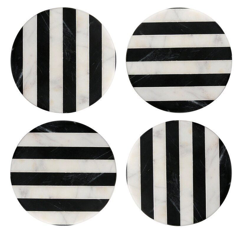 Old Hollywood Round Striped Marble Coaster