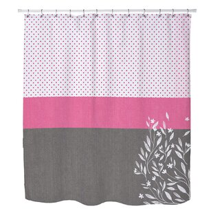 Zepeda Floral Dot Stripe Single Shower Curtain