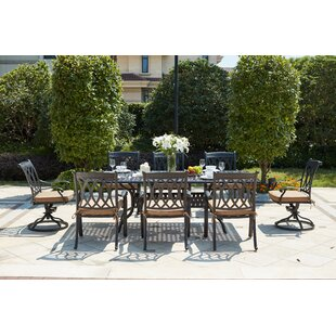 Melchior 9 Piece Metal Frame Dining Set with Cushions