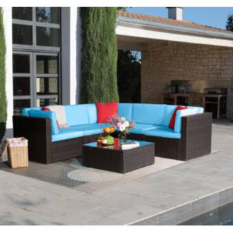 Bayou Breeze Avoca 6 Piece Rattan Sectional Seating Group With Cushions Reviews Wayfair