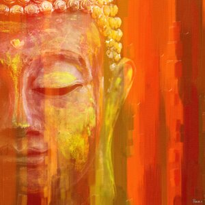 'Buddha' by Parvez Taj Painting Print on Wrapped Canvas