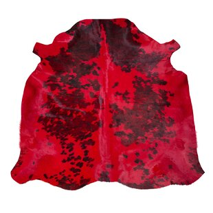 Normand Cowhide Dyed Red Rug by Pieles Pipsa