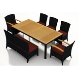 Holbrook 7 Piece Teak Dining Set with Sunbrella Cushions