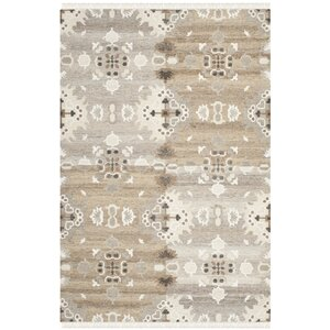 Natural Kilim Dhurrie Hand-Woven Wool Gray/White Area Rug