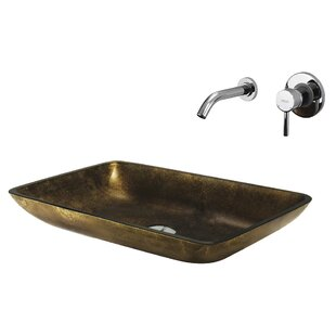 VIGO Copper Glass Circular Vessel Bathroom Sink with Faucet