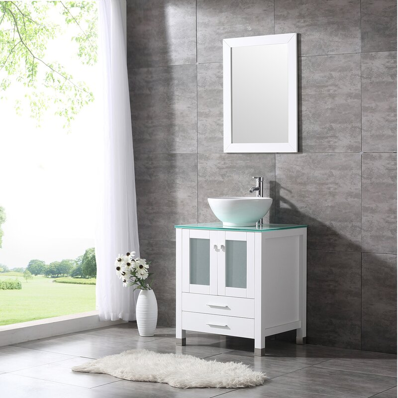 Ebern Designs Aldobrando 24 Single Bathroom Vanity Set With Mirror Reviews Wayfair