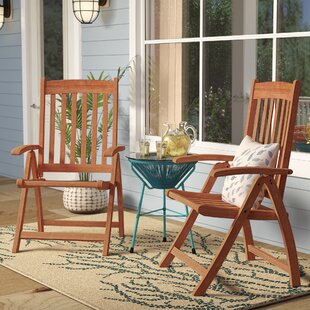 Elsmere Folding Teak Patio Dining Chair (Set of 2)