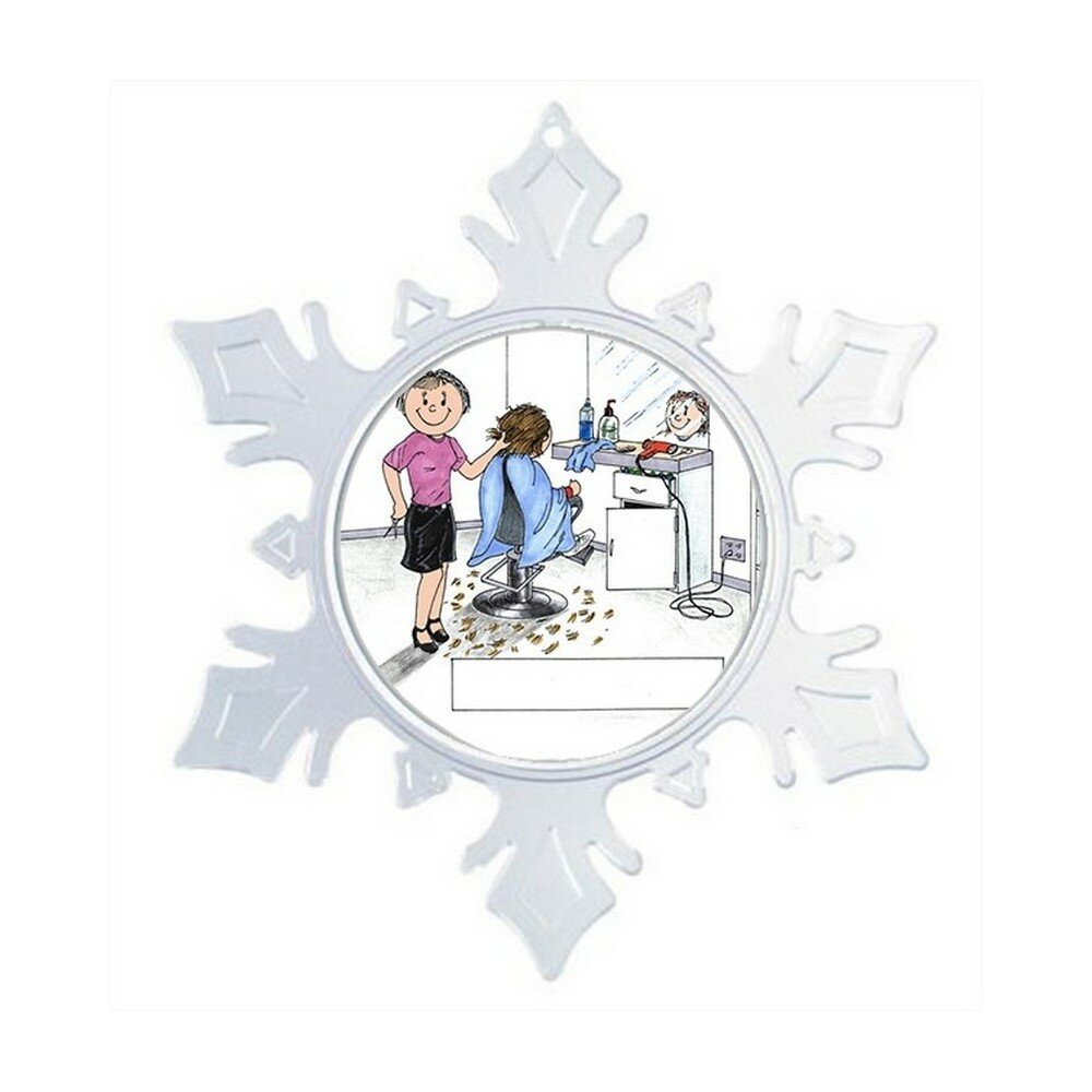 The Holiday Aisle Personalized Friendly Folks Cartoon Snowflake Hairdresser Beautician Hair Salon Color Specialist Beauty Shop Christmas Holiday Shaped Ornament Wayfair