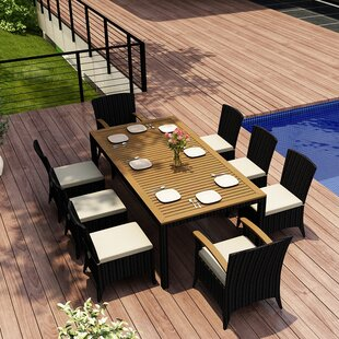 Harmonia Living Arbor 9 Piece Teak Dining Set with Sunbrella Cushions