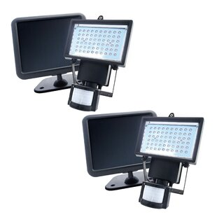 Solar Powered Motion Activated LED 60-Light Outdoor Flood Light (Set of 2) By Nature Power