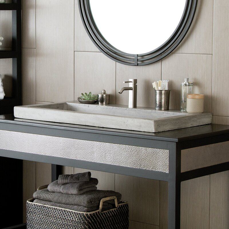 Native Trails Trough Stone Rectangular Drop-In Bathroom Sink ...
