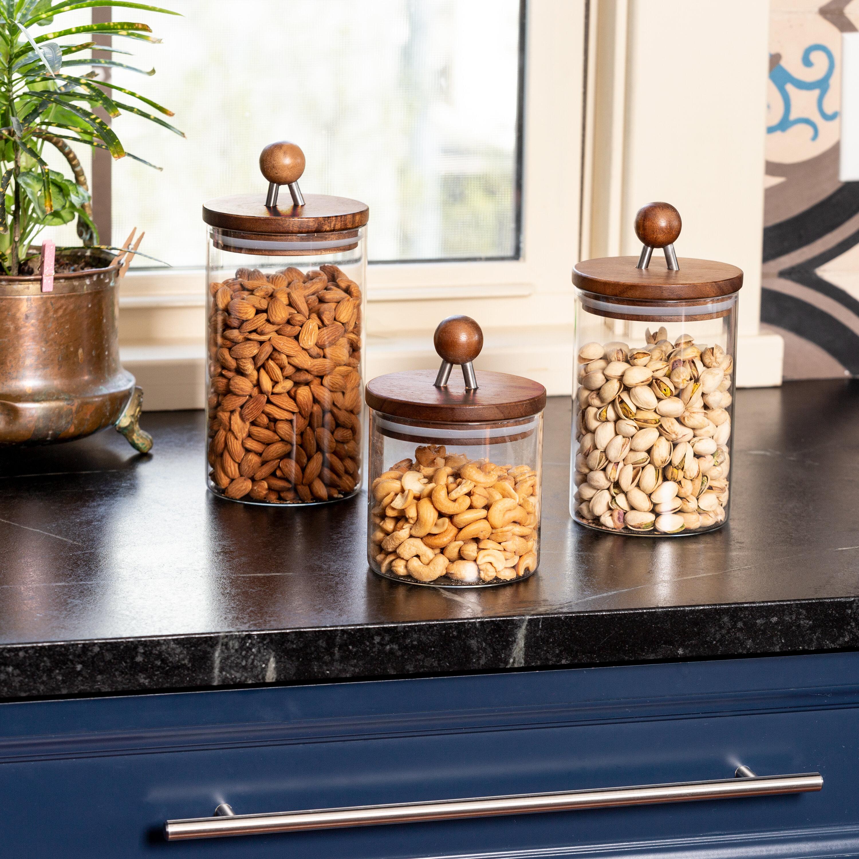 Millwood Pines Acacia Kitchen Top Glass 3 Piece Kitchen Canister Set Reviews Wayfair