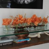 Driftwood Cymbidium Orchids Centerpiece in Glass Planter by Bayou Breeze