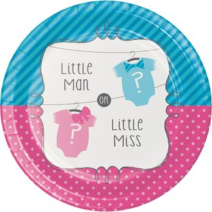 Bow or Bowtie Gender Reveal Paper Dessert Plate (Set of 24)