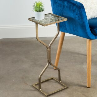 Belcourt Hand-Painted Hourglass Slim Fit Iron End Table Ivy Bronx