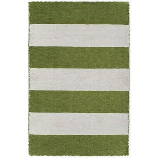 Ranier Rugby Stripe Handwoven Flatweave Green/White Indoor/Outdoor Area Rug