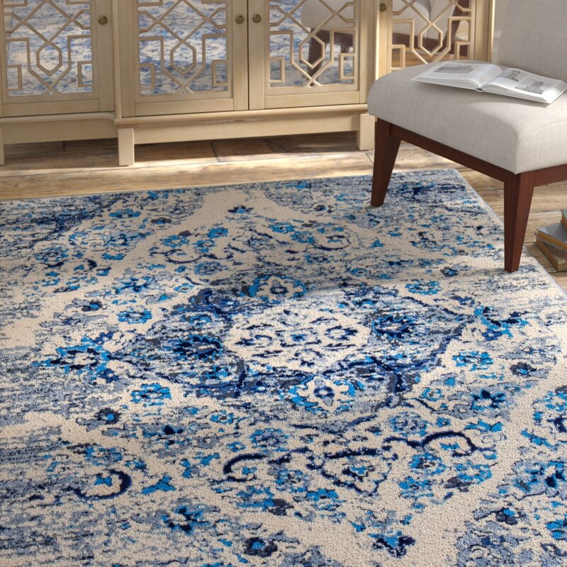Bungalow Rose Three Lakes Distressed Floral Motif Blue/Gray Area Rug